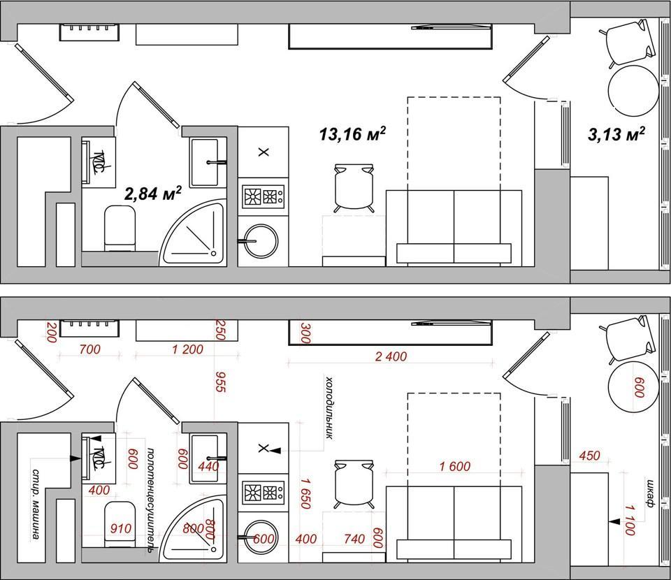 Ремонт студии - 1173-kvartira-16m-plan02 - 4